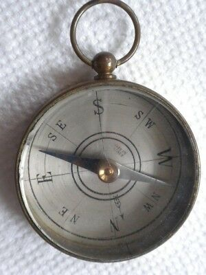 Vintage Pocket Watch Style Compass France Glass And Brass Look