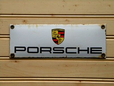 "PORSCHE OLD PORCELAIN SIGN ~7-3/4"" x 2-3/4"" CARRERA OIL 911 GAS ADVERTISING GT3"