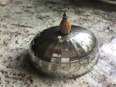 Silverplate Butter Dish Dome Oval Fluted Lid Scalloped Vintage Bakelite Finial