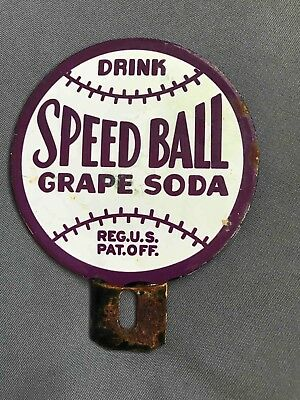 Old Drink Speed Ball Grape Soda Porcelain Auto License Plate Topper Sign