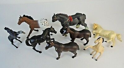 Vintage Lot of 8 Various Toy Horse Figurines A4