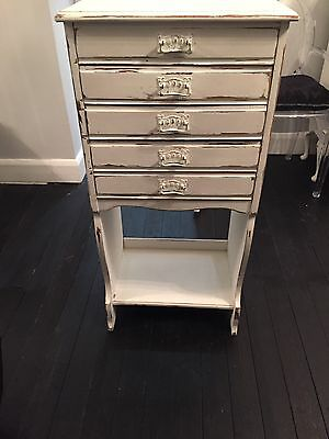 SHABBY CHIC 5 DRAWER CHEST MUSIC CABINET Edwardian Painted CIRCA 1901-10