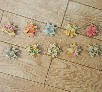 Vintage Moravian Star Folded Paper Christmas Ornaments Lot Of 10