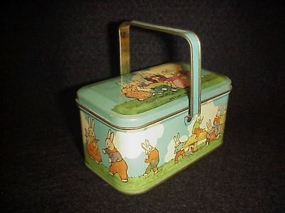 PETER RABBIT CANDY TIN old TINDECO vintage CHILD'S TOY LUNCH BOX noRESERVE