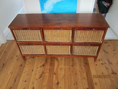 Timber and Cane Chest of 6 Drawers