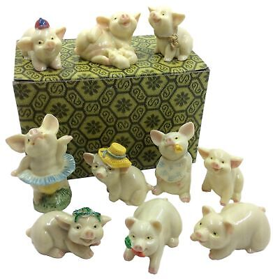 Pig Figurine Decor Collection – Set of 10 Miniature Statue Piglets, Feng Shui...
