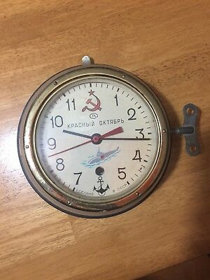 VTG USSR Russian Soviet Submarine Navy Ship Cabin Clock Key KPACHBIN Military