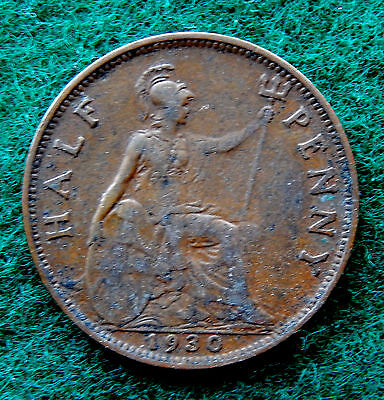 1930 UK Great Britain Half Penny Coin SB3779
