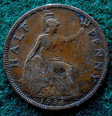 1934 UK Great Britain Half Penny Coin SB3775