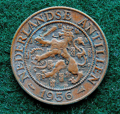 "1956 Netherlands Antilles  2 1/2 Cent Coin KM#5 ""Low Mintage 400,000""  SB3852"