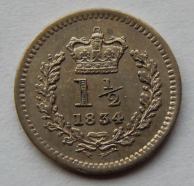"""1834 Great Britain 1 - 1/2 Pence Silver Coin  KM#719 """"Rare 0nly 800,000"""" SB4895"""