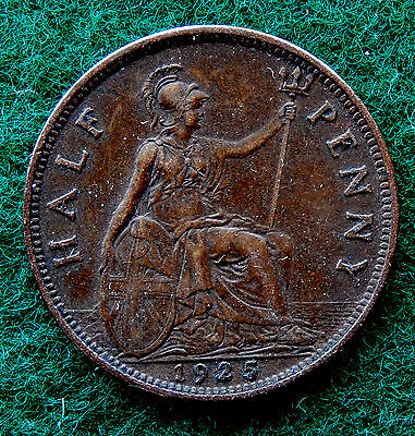 1925 UK Great Britain Half Penny Coin SB3777