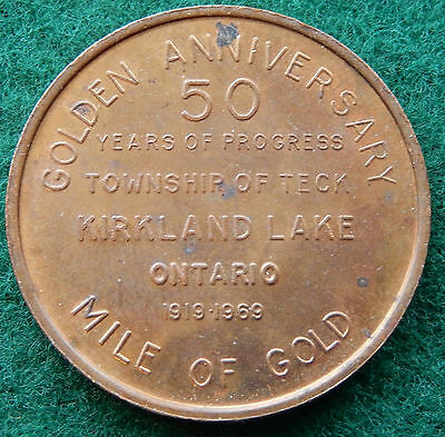 1969 Township of Teck 50 Years of Progress Golden Anniversary Token Coin SB3599