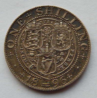 1896 Great Britain One Shilling Silver Coin  KM#780 SB4893