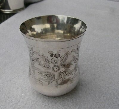 Antique TURKISH Silver TUMBLER-Well Marked-Fine Engraved Leaves Decoration
