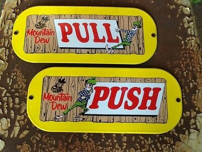 New Old Stock Mountain Dew Soda Door Push & Pull 1960's Mint Condition Sign