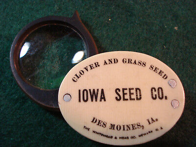 Celluloid Advertising Pocket Magnifying Glass / Loupe Iowa Seed Co Des Moines Ia