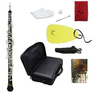 C Key Oboe Black Instrument w/ Cleaning Cloth Swab Wood Wind Instrument Gift