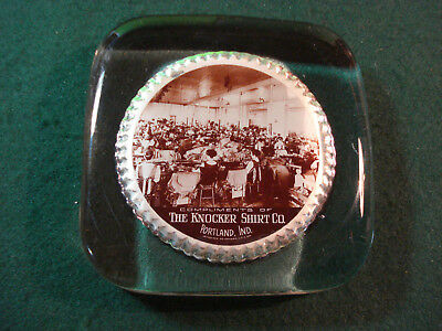 Thick Glass Advertising Paperweight The Knocker Shirt Co Portland Ind Cruver Mfg
