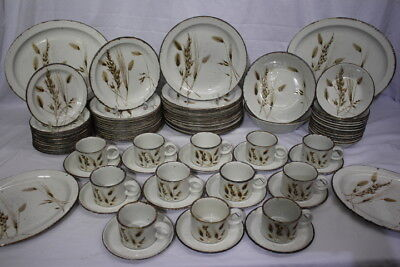 78pc Vintage Midwinter Stonehenge WILD OATS Brown Speckled China for 12, England