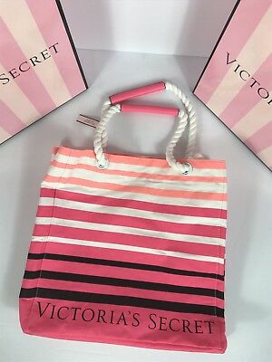NWT Victoria's Secret Tote Beach Bag Pink White & Black Stripes With Rope Handle