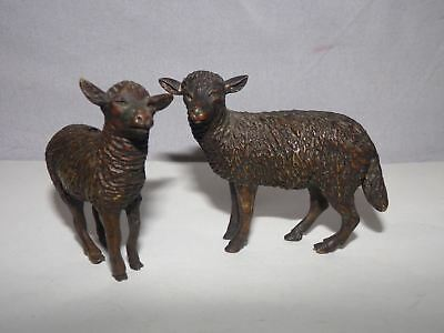 2 ANTIQUE SHEEP FIGURINES-CAST?BRONZE?HEAVY-FIGURAL-NATIVITY?3inch-NR!
