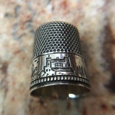 Antique Waite Thresher Co. Sterling Silver Thimble Size 12