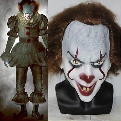 2017 Pennywise IT Clown Mask Stephen King's Fancy Costume Halloween Cosplay Mask