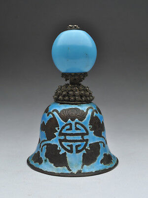 Qing Dynasty Mandarin Rank Hat Button Turquoise Blue Finial Enamel Bats Bell