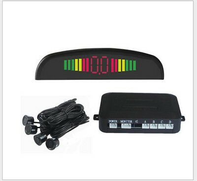 Car Parking Rear Reverse 4 Sensors Kit Buzzer Radar LED Display Alarm System