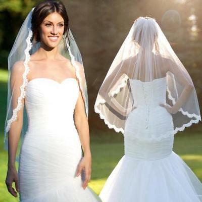 2018 1 Layer Ivory Elbow Length Lace Edge Bride Wedding Bridal Veils + Comb