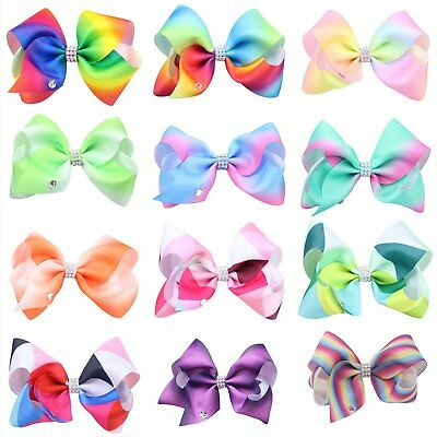 12cm Girl Kids Rainbow Bows Hairpin Rib Grosgrain Ribbon Bow Hair Clip Baby EU