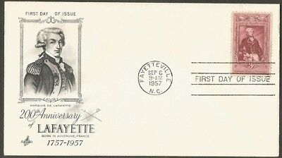 Us Fdc 1957 Lafayette 3C Stamp Art Craft First Day Of Issue Cover Fayetteville