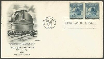 Us Fdc 1948 Palomar Mountain Observatory 3C Stamps Artmaster First Day Of Issue