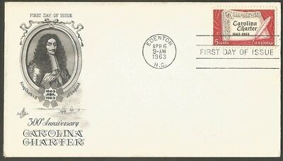 Us Fdc 1963 Carolina Charter 5C Stamp Ac First Day Of Issue Cover Edenton Nc