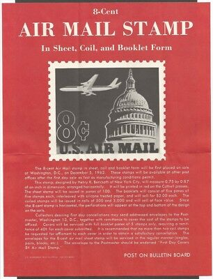Us Fdc 1962 8C Air Mail Coil Stamp Artmaster First Day Of Issue Cover + Insert