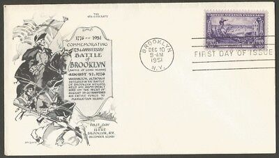 Us Fdc 1951 Battle Of Brooklyn 3C Stamp The Aristocrats D Lowry Cachet First Day