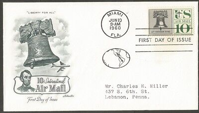 Us Fdc 1960 10C International Air Mail Stamp Artmaster First Day Of Issue Cover