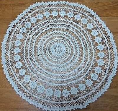 "Vintage DOILIE~TABLE TOPPER~ 24"" ROUND~CROCHETED LACE~CLEAN~NO STAINS"