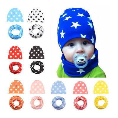 2pcs Baby Bonnets Cotton Star Hat+Scarf Set  Autumn and Winter Soft Baby Hats