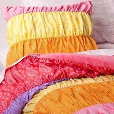 TWO Circo  RUCHED PILLOW  SHAMS ~ RAINBOW PINK YELLOW NEW