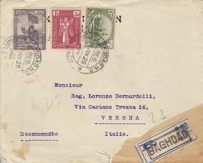 1925 IRAQ/IRAK - Registered commercial cover to Italy, very fine