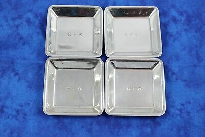 Antique Set of Four Sterling Silver Gorham Black Starr Frost Square Plates Dish