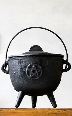 Gothic Goth Pagan Wiccan Pentacle Large Cast Iron Tripod Cauldron Incense