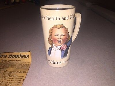 """1890s Antique """"Villeroy and Boch"""" Hires Root Beer Mug w/ 1990 news article"""
