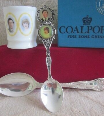 COALPORT bone china MINI TANKARD, 2 SPOONS Charles & Diana Royal Wedding 1981