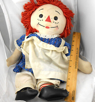Antique Old Vintage RAGGEDY ANN DOLL 19inch Cloth w/Clothes Black Patent Shoes