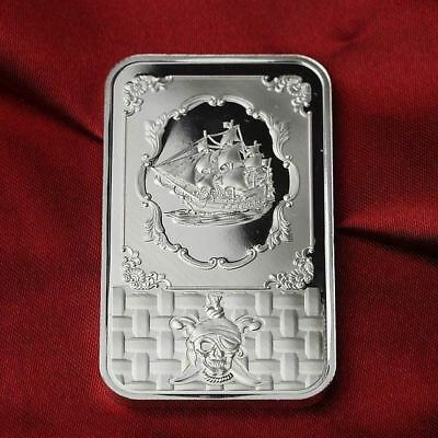 1 Troy oz  .999 Fine Silver Bar Bullion  /  Pirate Ship  SB1F6