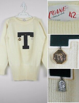 Vtg 1940s 50s Mens Letterman Sweater College Track Relay w/ MEDALS Sz 42 Varsity