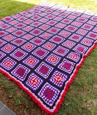 c.1960's Vintage Hand Crocheted Extra Large Heavy Wool Rug Beautiful Patterns
